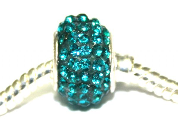 Teal 12mm x 8mm Pave crystal bead with 5mm hole PD-S-12- 08